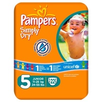 Pampers Simply Dry Size 5 Carry Pack 22 Nappies Per Pack (Packung 4)