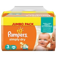 Pampers Simply Dry 4-9 kg 2 x 90 Stück