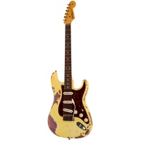 Fender Custom Shop 1962 Stratocaster Heavy Relic RW AVW-BM aged vintage white over burgundy mist metallic