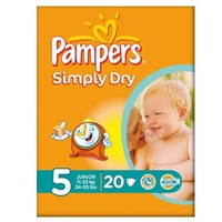 Pampers Simply Dry Größe 5 (11-25kg) Carry-Pack Junior 6x20 pro Packung