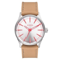 Nixon The Sentry 38 Leather Silver / Bright Coral / Natural A3772089