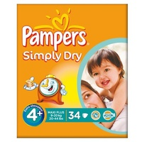 Pampers Simply Dry Größe 4 + (9-20kg) Essential Pack Maxi Plus-3x34 pro Packung