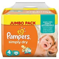 Pampers Simply Dry 7-18 kg 2 x 74 Stück