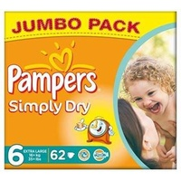 Pampers Simply Dry 16+ kg 62 Stück